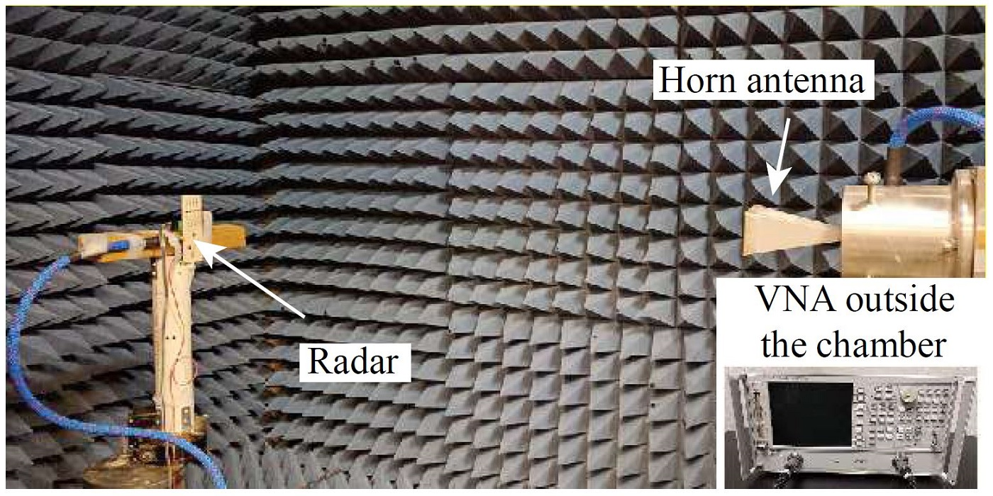 Fig. 3. Radar Prototype Test in the Microwave Anechoic Chamber