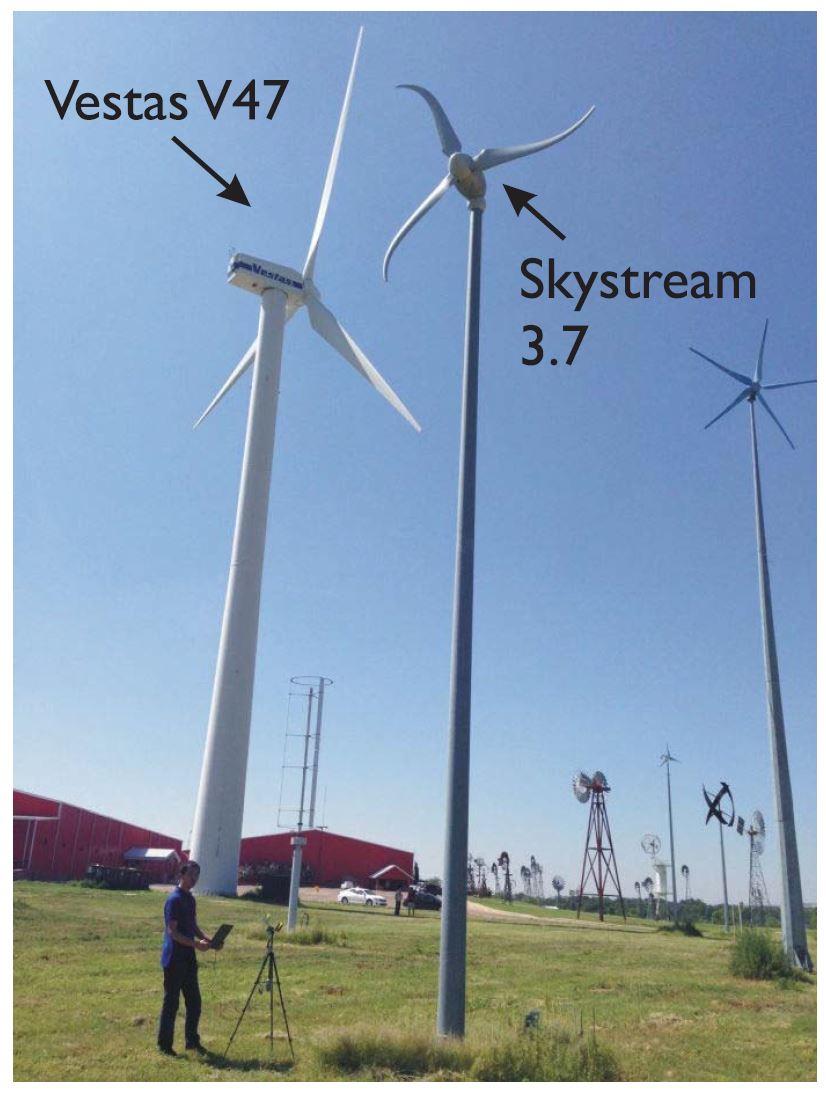 Fig. 7. Photograph of the illuminated wind-turbine acquisition scenario in the American Wind Power Center, Lubbock, TX, USA