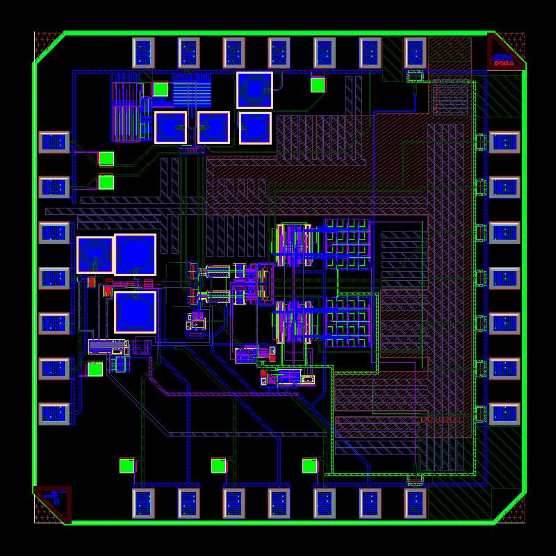 Fig. 1. Layout of the designed 24-GHz radar transceiver